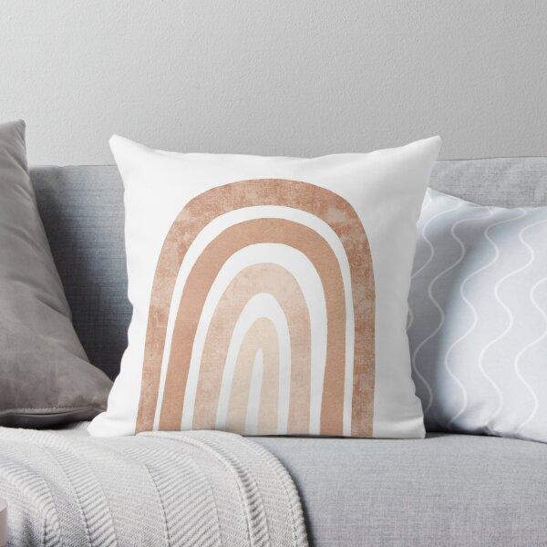 Neutral boho Rainbow Throw Pillow