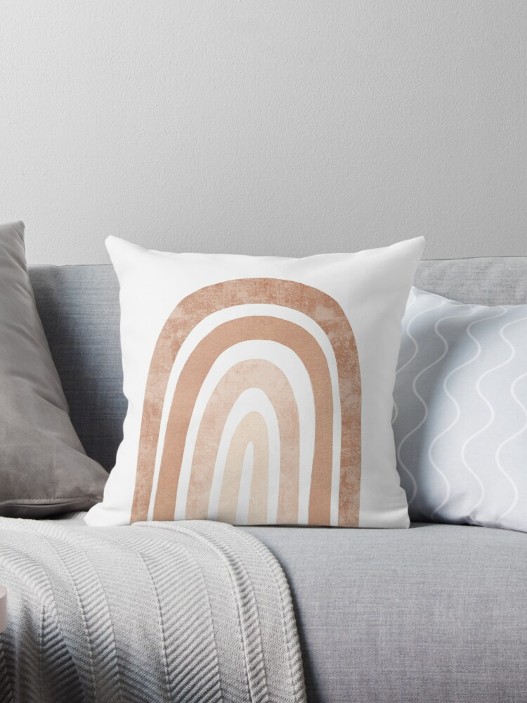 Neutral Boho Rainbow Throw Pillow By Miss Belle Redbubble