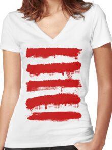 Rebel Stripes Women's Fitted V-Neck T-Shirt