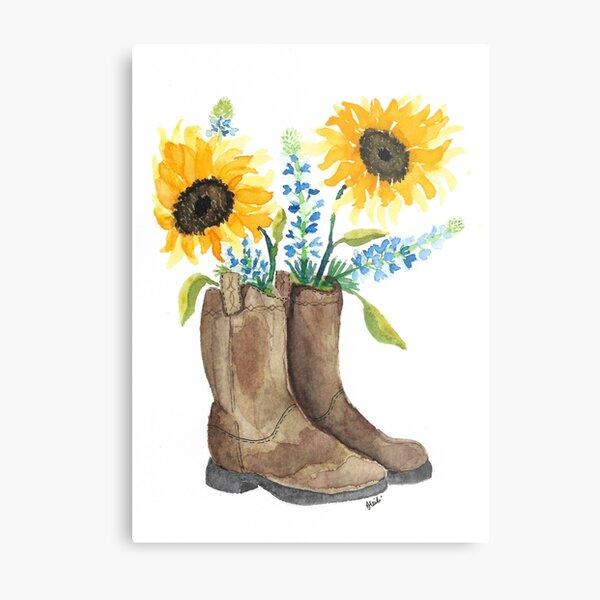 Cowboy Boot Flower Arrangement Metal Print
