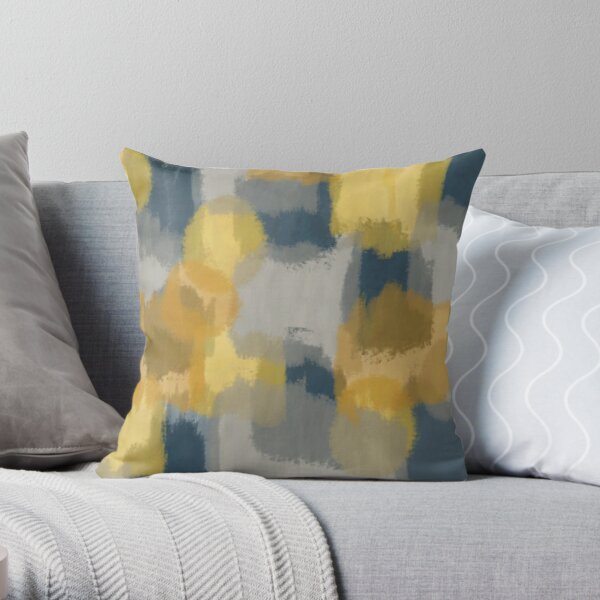 Abstract Paint in Mustard Yellow, Grey, and Navy Blue Throw Pillow