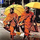 Monks in Phnom Penh-Cambodia. by Michael  Klinkhamer