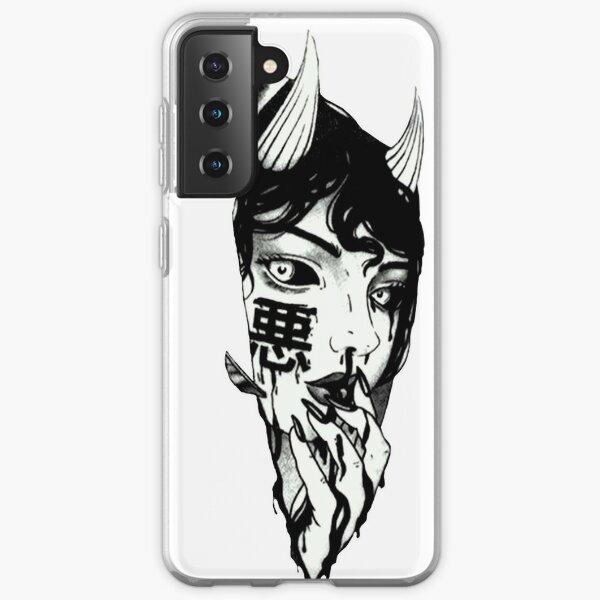 Evil Girl Japanese Cyberpunk Black and White Samsung Galaxy Soft Case