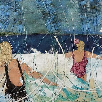 Playing in the Surf. Print of Embroidered Textile by Jackie Wills by jackiewills