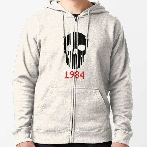 Barcode Skull 1984 Zipped Hoodie