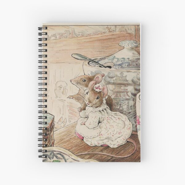 Die Mäuse Cottagecore Beatrix Potter Kinderbuch Geschichte Cute Mouse Reading Illustration Spiralblock