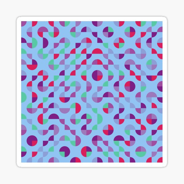 Excitedly Inoffensive Mercury (red, purples and greens on blue) Sticker