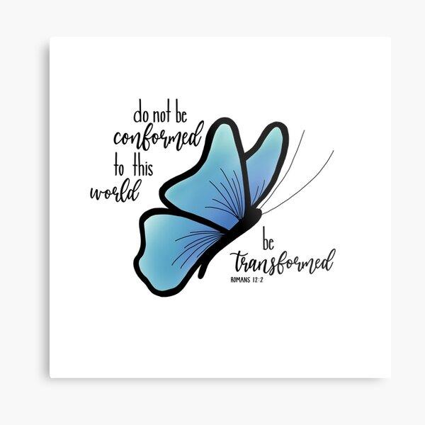 Romans 12:2 Bible Verse Blue Butterfly Metal Print