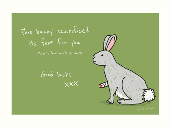 good luck bunny art prints by awful artwork redbubble