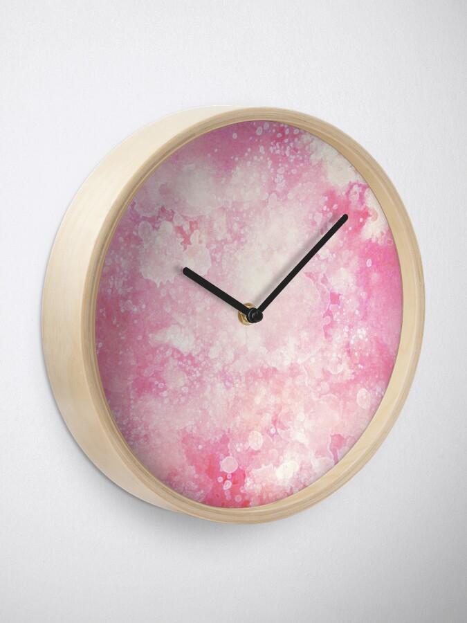 Alternate view of Pink watercolor splatters Clock