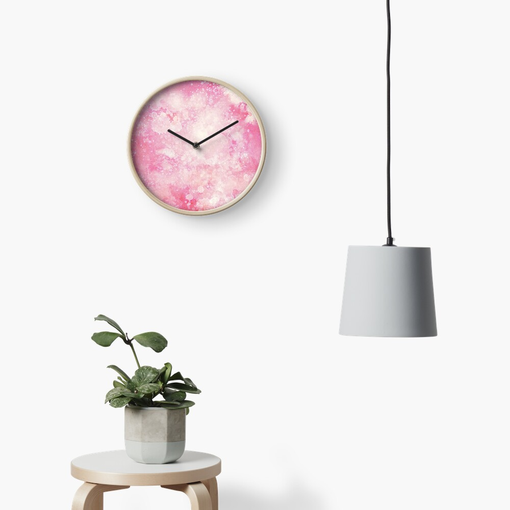 Pink watercolor splatters Clock