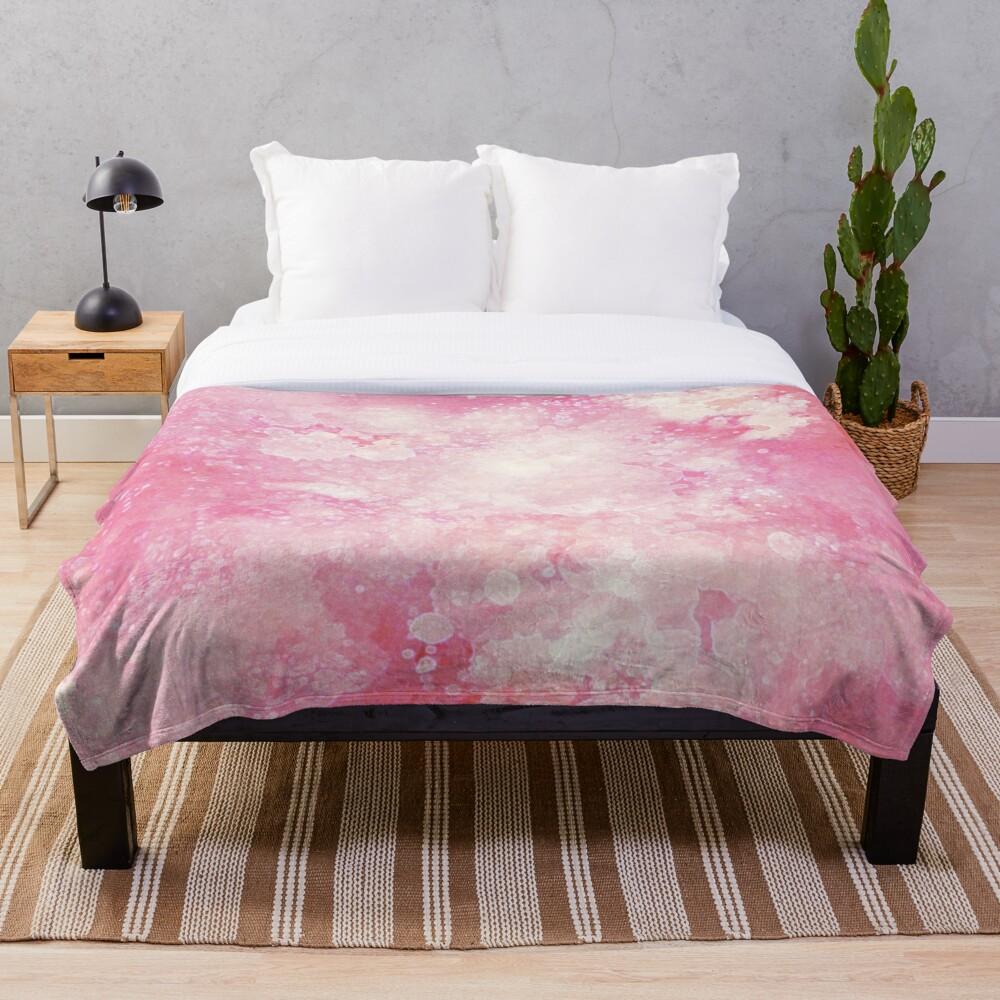 Pink watercolor splatters Throw Blanket