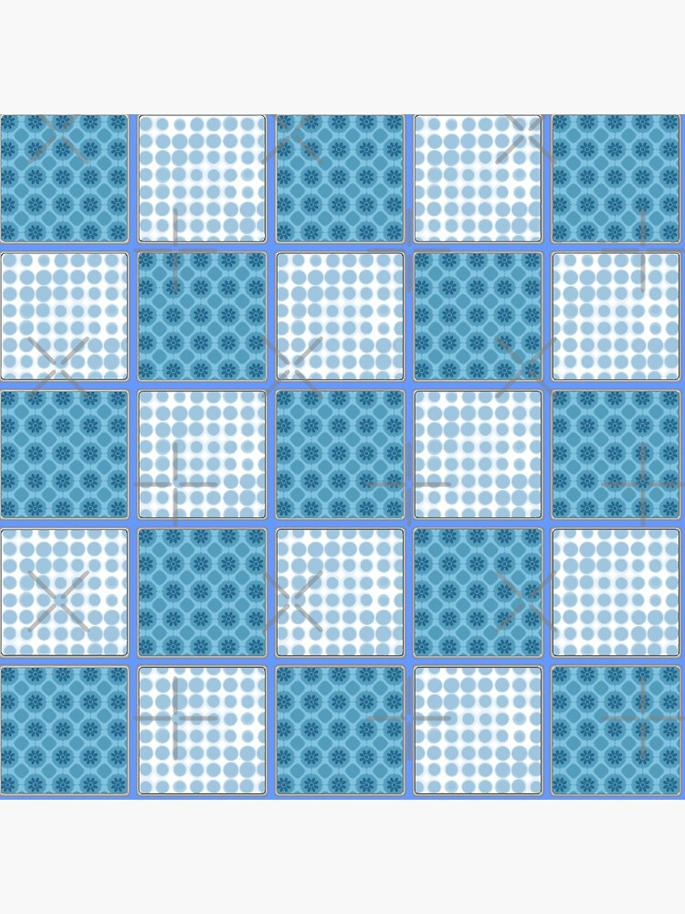 LIGHT BLUE AND MID BLUE PATCHWORK CHECKS WITH SQUARES AND SMALL POLKADOTS by ozcushionstoo