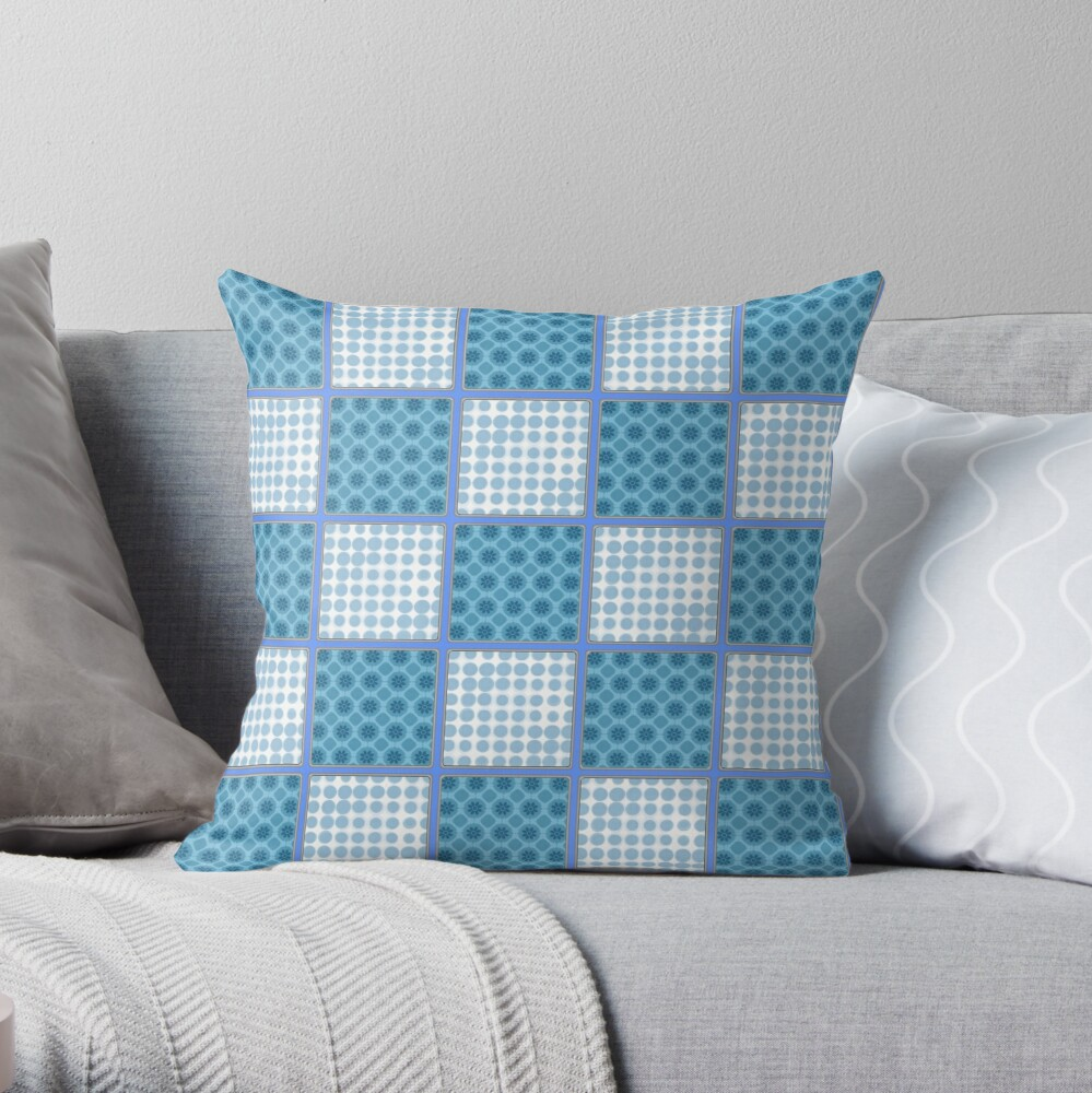 LIGHT BLUE AND MID BLUE PATCHWORK CHECKS WITH SQUARES AND SMALL POLKADOTS Throw Pillow