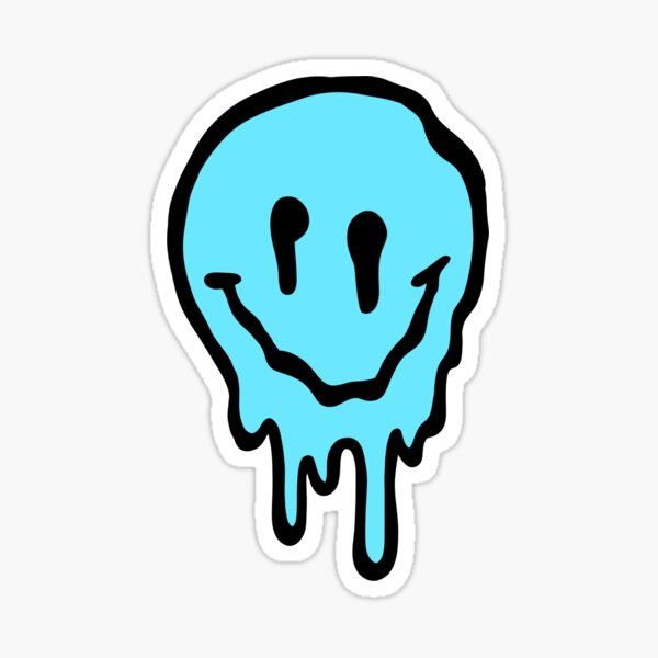 blue melting/drip smiley face Sticker