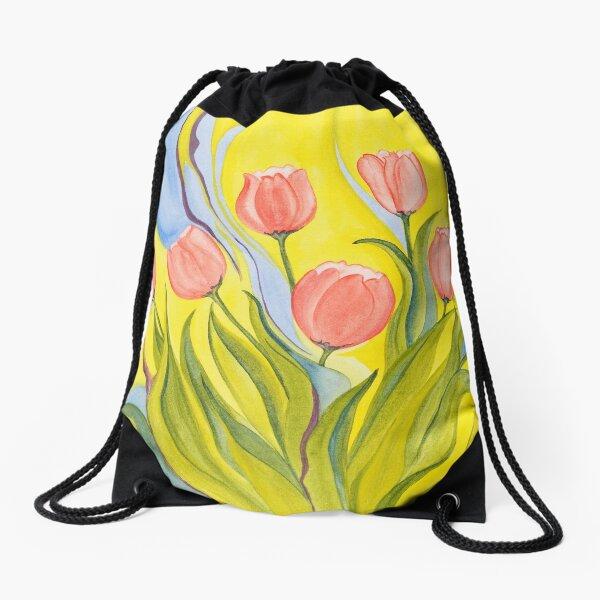 Pink Tulips Drawstring Bag