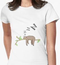 Sleeping sloth Women's Fitted T-Shirt