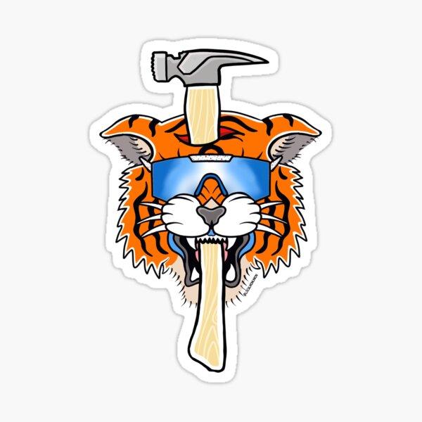 Carpenter tiger with hammer  Sticker