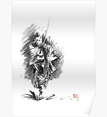 Samurai sword bushido katana martial arts sumi-e original running run man design ronin ink painting artwork Poster