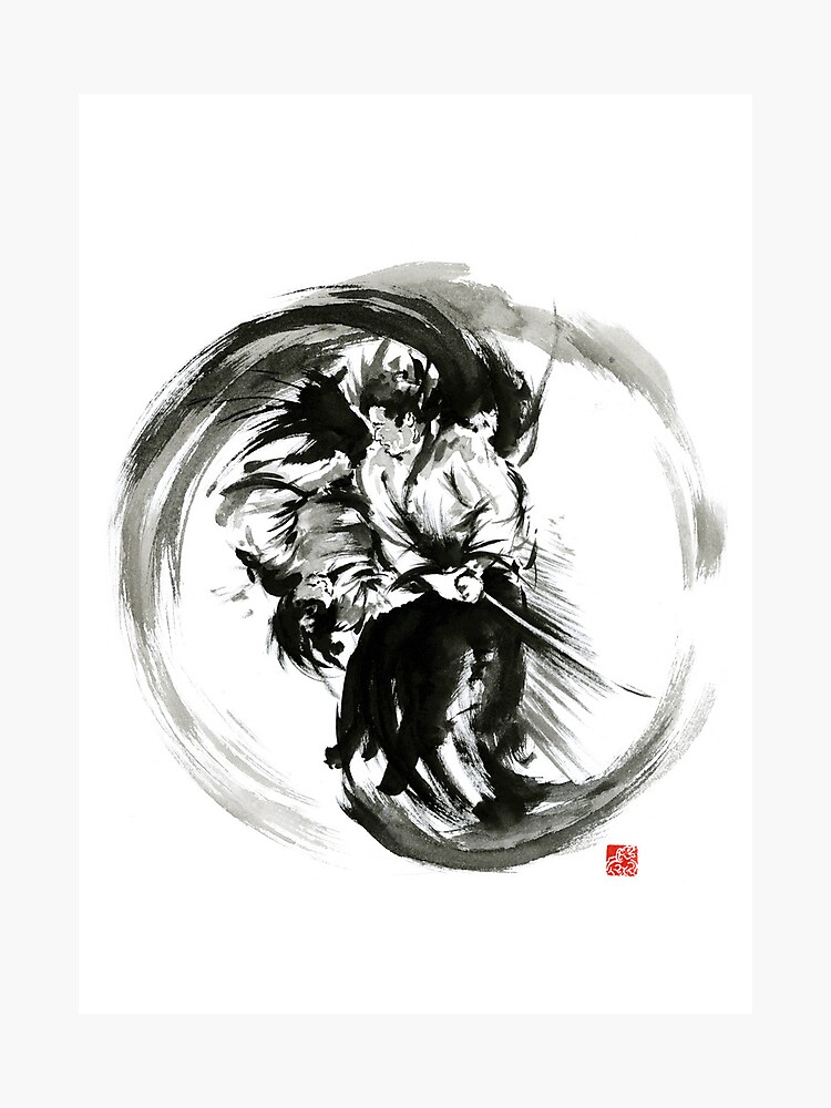 Aikido techniques martial arts sumi-e black white round circle design yin  yang ink painting watercolor artwork | Photographic Print