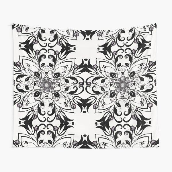 Black and White Flower Mandala Tapestry