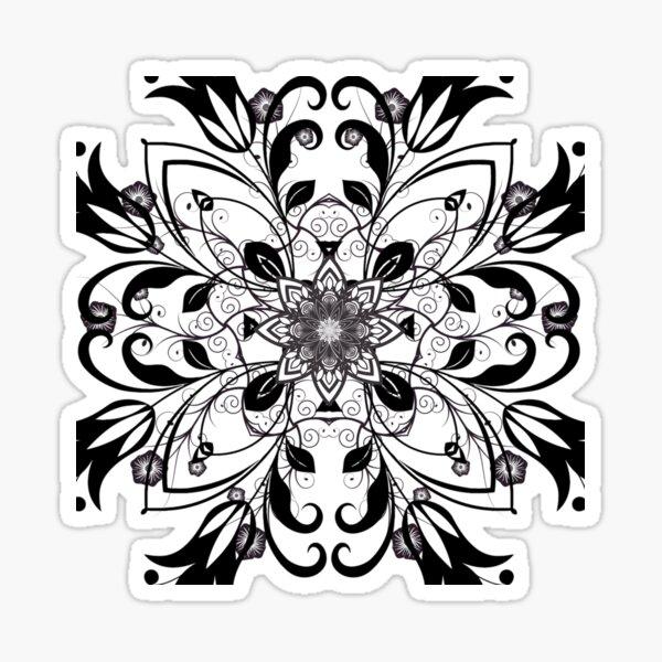 Black and White Flower Mandala Sticker