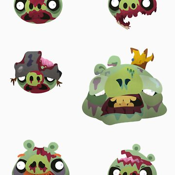 Zombie Pigs Sticker Sheet by 55INCH
