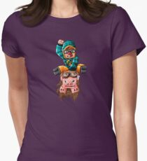 The Pilot Pig! Women's Fitted T-Shirt