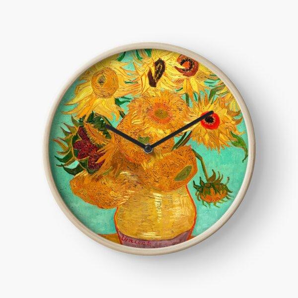 Vase With Twelve Sunflowers - Van Gogh Clock