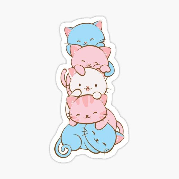 Transgender Pride Flag Kawaii Cats Sticker