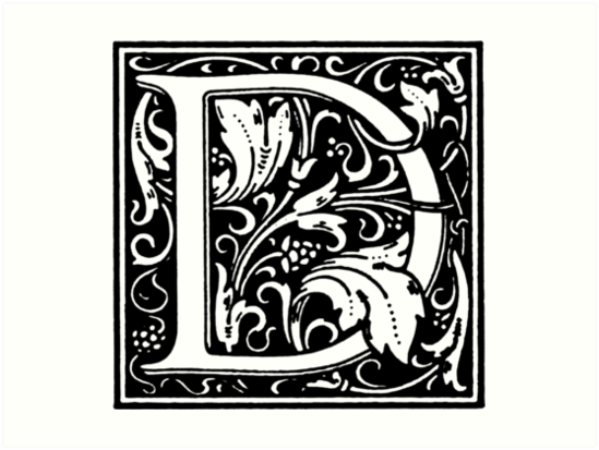 William Morris Renaissance Style Cloister Alphabet Letter D By Pixelchicken