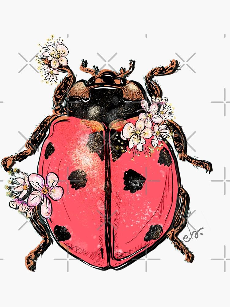 Ladybug Beetle with Blooms by ebozzastudio