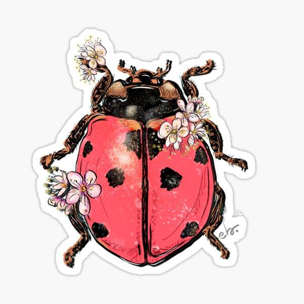 Ladybug Beetle with Blooms Sticker