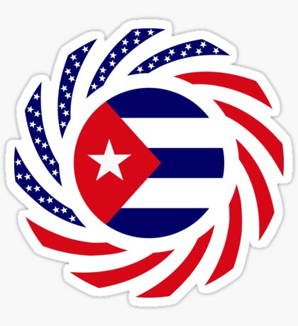 Cuban American Multinational Patriot Flag Series Sticker