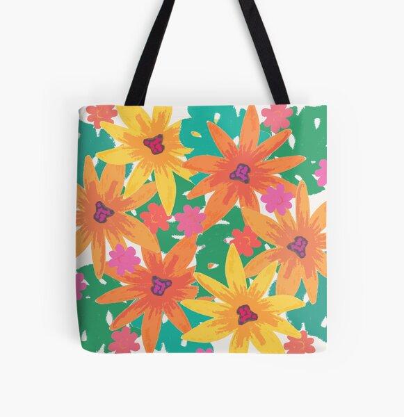 Modern retro Blumen Allover-Print Tote Bag