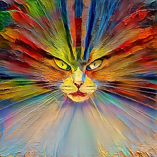 Abstract cat digital painting
