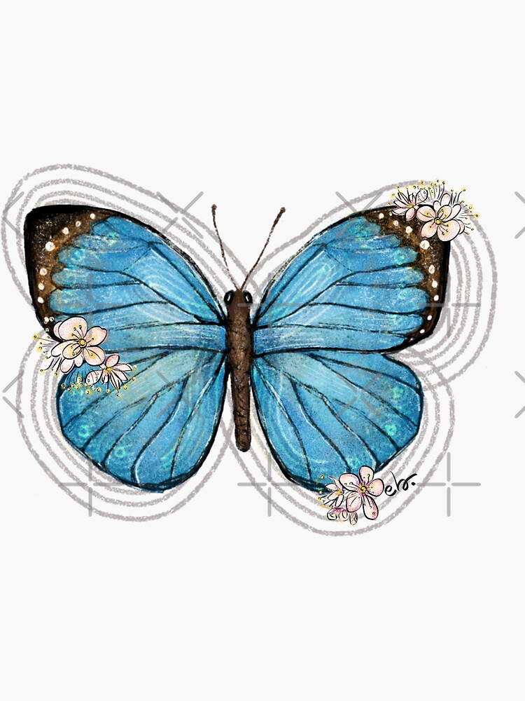 Blue Morpho Butterfly and Blooms by ebozzastudio