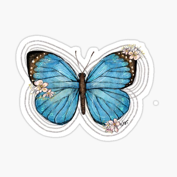 Blue Morpho Butterfly and Blooms Sticker