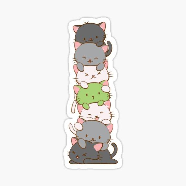 Agender Pride Flag Kawaii Cats Sticker