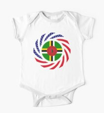 Dominica American Multinational Patriot Flag Series Short Sleeve Baby One-Piece