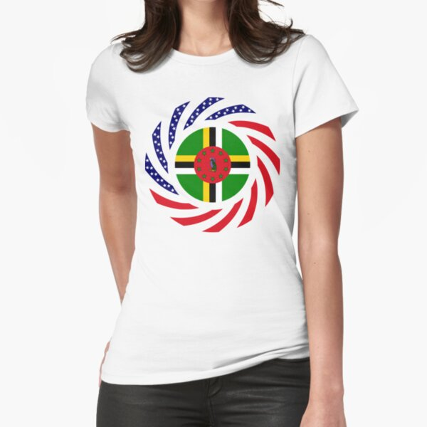 Dominica American Multinational Patriot Flag Series Fitted T-Shirt