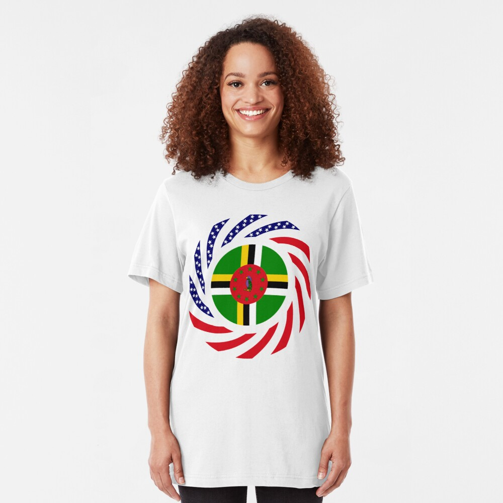 Dominica American Multinational Patriot Flag Series Slim Fit T-Shirt