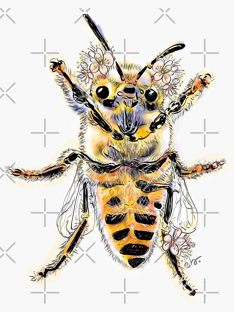 HoneyBee with mini flowers by ebozzastudio