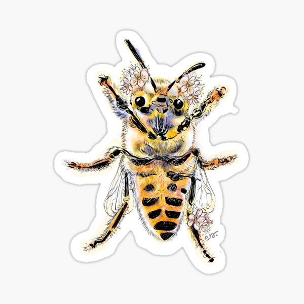 HoneyBee with mini flowers Sticker