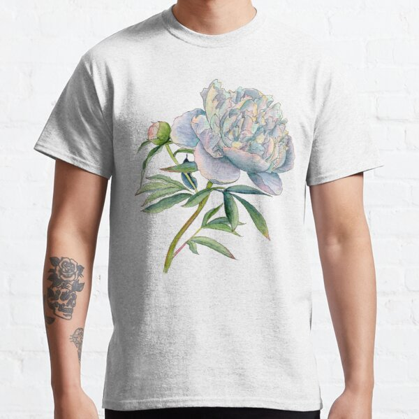 Peony in watercolor and ink by farrahdelle Classic T-Shirt