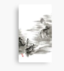 Mountain view poet in mountain haiku sky snow and clouds landscape sumi-e original ink painting Canvas Print