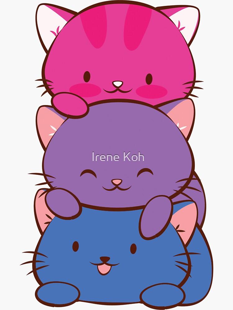 «Bisexual Pride Flag Kawaii Chats» par IreneKohStudio