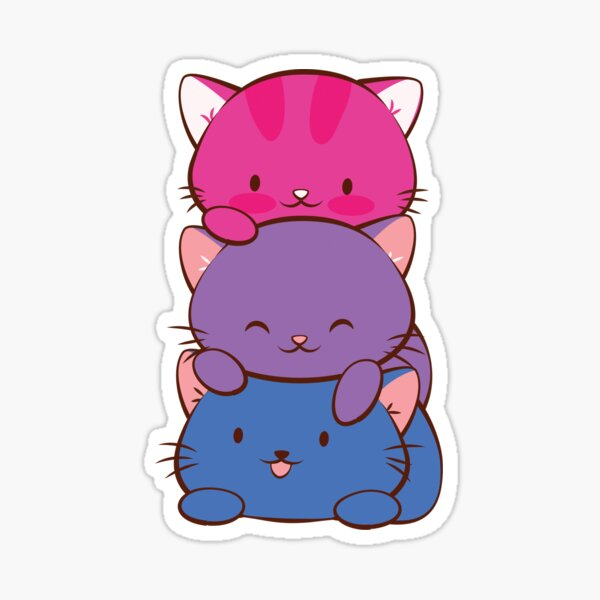 Bisexual Pride Flag Kawaii Cats Sticker