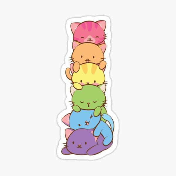 LGBT Gay Pride Flag Kawaii Rainbow Cats Sticker
