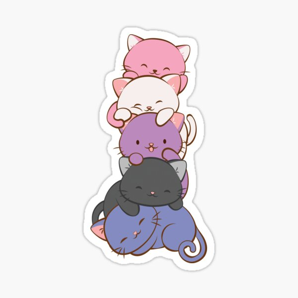 Genderfluid Pride Flag Kawaii Cats Sticker